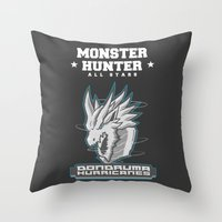 monster hunter Throw Pillows featuring Monster Hunter All Stars - The Dondruma Hurricanes by Bleached ink