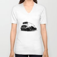 mini cooper V-neck T-shirts featuring MINI Cooper S by zero2sixty