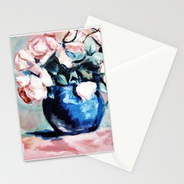 Roses in blue vase original oil painting Stationery Cards