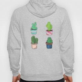 1 Cactus, 2 Cacti, 3 Cacti Four- Watercolor Design Hoody