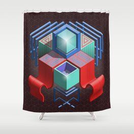 Abstract Cube 01 Shower Curtain