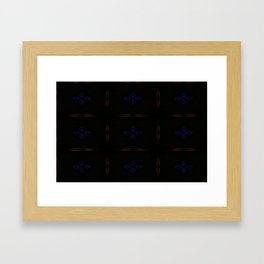 Black and Red Pattern with Purple Floral Insets Framed Art Print