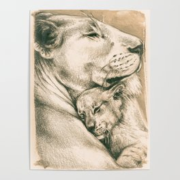 Lioness And The Cub Poster