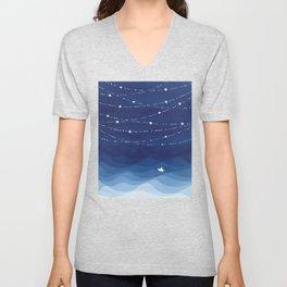 Garland of Stars IV, night sky Unisex V-Neck