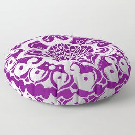 Beautiful Floral Silver and Purple Mandala Floor Pillow