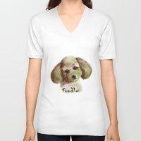 poodle V-neck T-shirts featuring Poodle by Det Tidkun