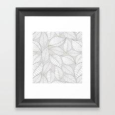 Leaves on gray Framed Art Print