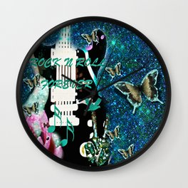 Peace Love and Rock n Roll #3 Wall Clock
