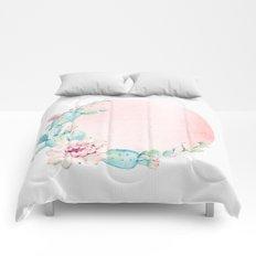 Desert Rose Gold Cactus Sun Comforters