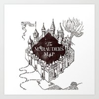 marauders Art Prints featuring MARAUDERS MAP by ThreeBoys