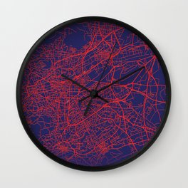 Clermont-Ferrand, France, Blue, White, City, Map Wall Clock