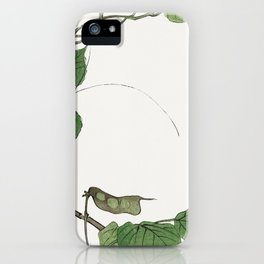 Locust on a leaf illustration from Churui Gafu (1910) by Morimoto Toko. iPhone Case