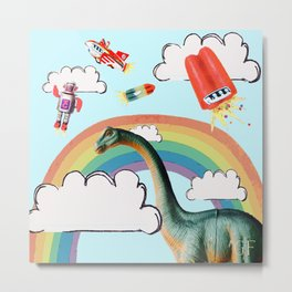 """busy skies"", thought the dinosaur Metal Print"