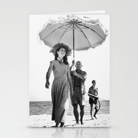 pablo picasso Stationery Cards featuring PABLO PICASSO AT BEACH by VAGABOND