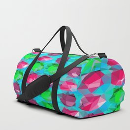 geometric polygon abstract pattern in pink blue green Duffle Bag