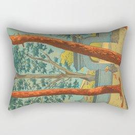 Asano Takeji Japanese Woodblock Print Vintage Mid Century Art Garden Gates Rectangular Pillow