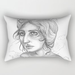 Your Love is Like A Nest For Souls To Rest- woman and bird drawing Rectangular Pillow