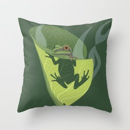 Pacific Tree Frog in Skunk Cabbage Throw Pillow