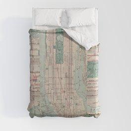 New York City, Manhattan, Vintage Map Duvet Cover