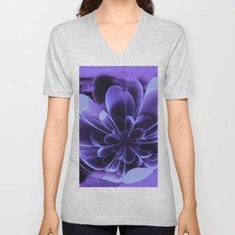 Abstract Blue Flower Unisex V-Neck