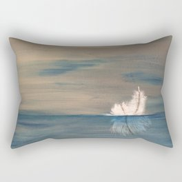 Floating Feather. Original Painting by Jodilynpaintings. Abstract Feather on Water. Rectangular Pillow