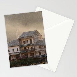 Mostar Bosnia and Herzegovina Photography, Fog, Golden Hour, Minaret, Travel Wall Art Stationery Cards