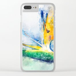 Bird Of Paradise Watercolor Art Clear iPhone Case