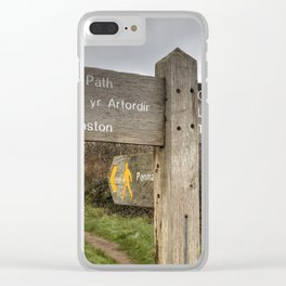 Bilingual Welsh English signpost Clear iPhone Case