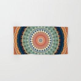 Dark Indigo Blue Orange Mandala Hand & Bath Towel
