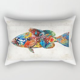 Colorful Grouper Art Fish by Sharon Cummings Rectangular Pillow