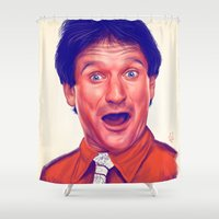 robin williams Shower Curtains featuring Young Robin Williams  by Thubakabra