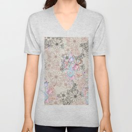 Modern vintage black rose gold watercolor floral Unisex V-Neck