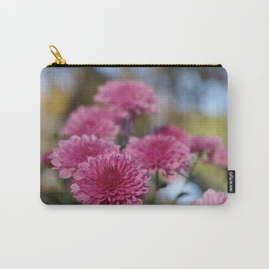 Rosy Chrysanthemum with gold leaves, blue sky Carry-All Pouch