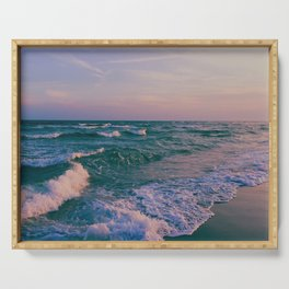 Sunset Crashing Waves Serving Tray