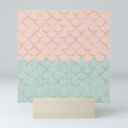 Retro Vintage Inspired 1940s Beachy Fish Scales Pattern in Pink Green and Gold Mini Art Print