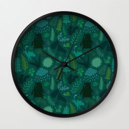 PNW Forest in Emerald Green Wall Clock