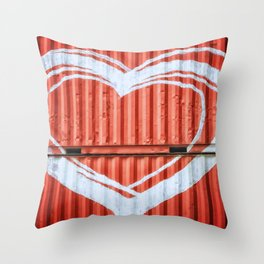 HEART ON CONTAINERS Throw Pillow