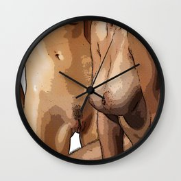 Two Nude Women Half Tone Wall Clock