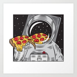 Spaceman Eating Pizza Art Print