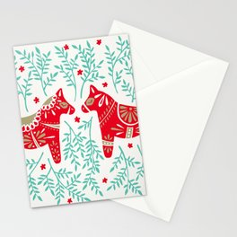 Swedish Dala Horses – Red & Mint Palette Stationery Cards