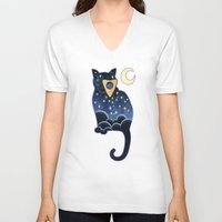 ouija V-neck T-shirts featuring Ouija Cat by Kiki Stardust