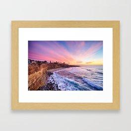 Sunset at the cliffs Framed Art Print