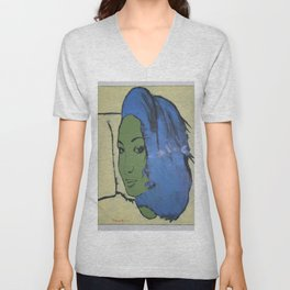 Dariusz Stolarzyn Women With Green Face oil painting Unisex V-Neck