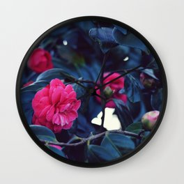 Pink Rose Bush Wall Clock