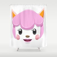 animal crossing Shower Curtains featuring Animal Crossing Reese by ZiggyPasta