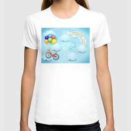 Surreal sky with bike and balloons T-shirt