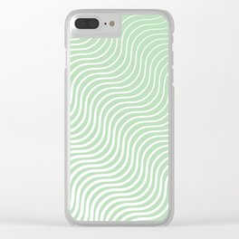 Whiskers Light Green & White #440 Clear iPhone Case