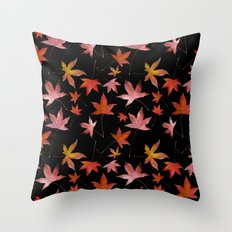 Dead Leaves over Black Throw Pillow