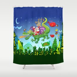 Santa changed his reindeer for a dragon Shower Curtain