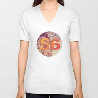 ferris wheel V-neck T-shirts featuring Ferris Wheel S6 Tee by Marina Design